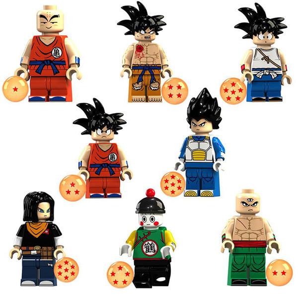 Bloques de construcción Modelo Dragon Ball Series Mini figuras DIY colección juguete 8 unids / lote Niños Ladrillos Juguetes Regalos