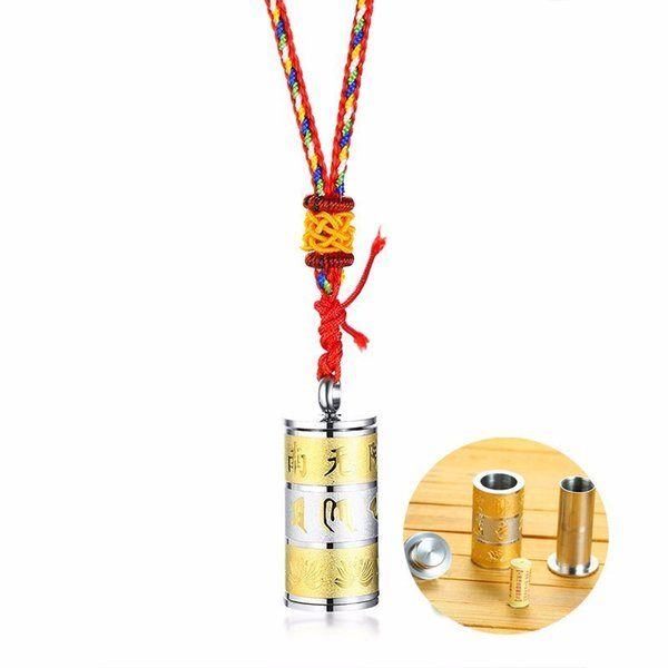 Men's Prayer Wheel Pendant Necklace with Lucky Buddha Great Compassion Mantra Red Braided Rope Buddhist Spiritual Jewelry
