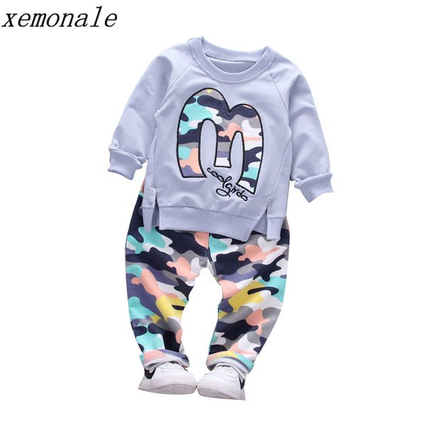 Baby Boy Autumn Clothes Girl Letter M Warm Cotton Clothing Set For Kid Camouflage Jackets Pant 2pcs Fashion Children Sports Suit Y1892605