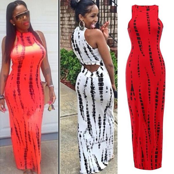 top popular Fashion 2018 Women Tank Dress Casual vestido Print Lady Summer Sexy Bandage Bodycon Stretch Party Clubwear Long Maxi Dress 29 2020