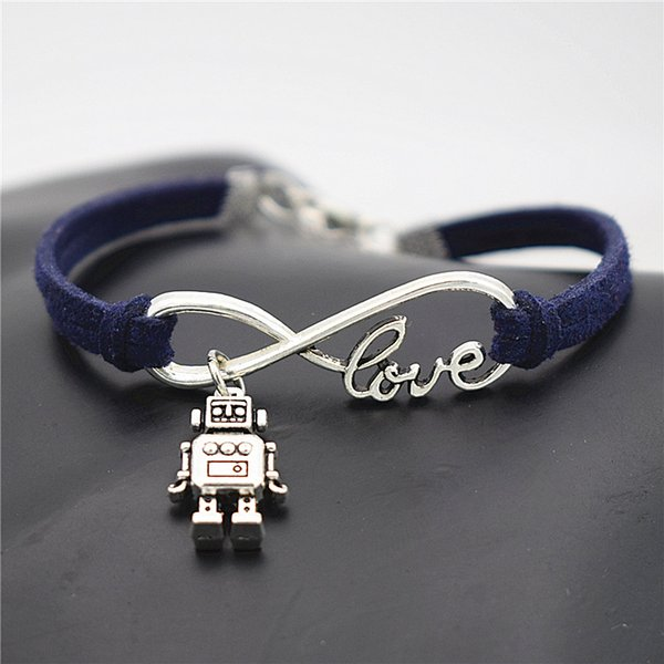 Wholesale Silver Color Infinity Love 3D Robot Pendant Link Chain Bracelets Bangles 2018 Fashion Dark Navy Leather Rope Jewelry for Men Women