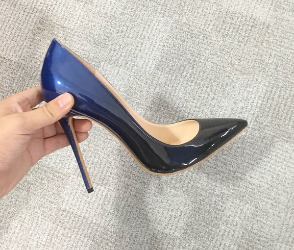 Sexy gradient color shallow high heels shoes lady pointed toe patent leather 8.5cm 10cm 12cm stiletto heel pumps big size 34-46