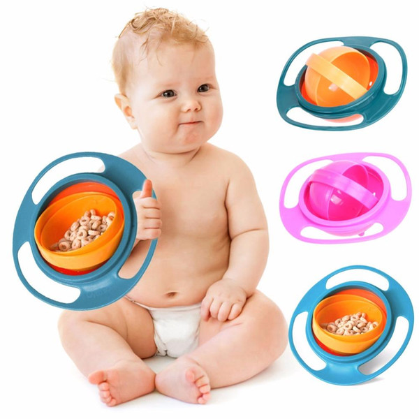 360 giratorio balancín Gyro Bowl UFO cuenco con tapa evitar el derrame de alimentos Universal Gyro niños creación Baby Bowl como fuentes de alimentación