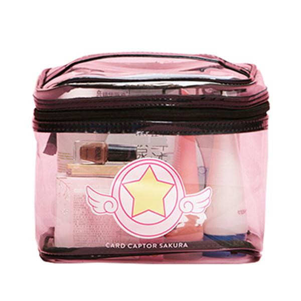 Dos desenhos animados sakura saco cosmético grande capacidade geléia sacos transparentes mulheres saco de produtos de higiene pessoal de banho à prova d 'água mulheres bolsas sacos de lavagem
