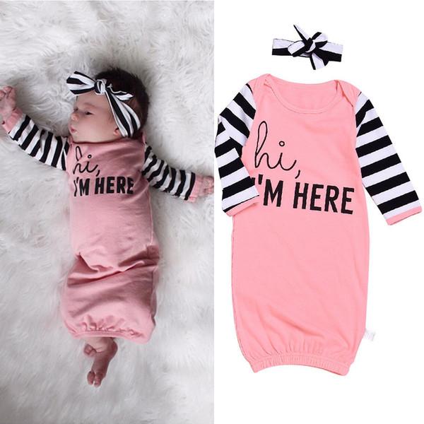 2018 Automne Bébé Fille Sac De Couchage Nouveau-Né Swaddle Cute Sleep sacs Pyjama Vêtements Bandeau 2 Pièces pour Fille