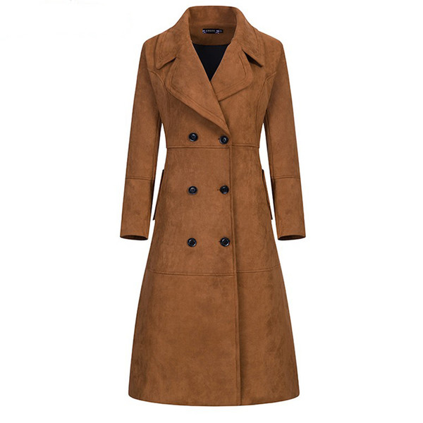 Extra Long Camurça Trench Coat para as mulheres 2018 Outono / Inverno Novo Design Plus Size Outwear Escritório Lady Magro Sobretudo
