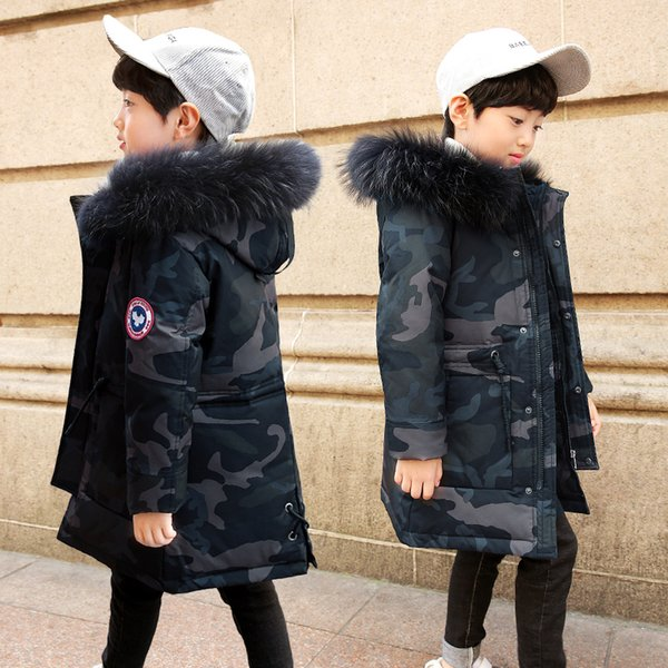 NEW 2018 Russia Winter Boys Down Jacket Boy Warm Thick Duck Down & Parkas Children Casual Fur Hooded Jackets / Coats -35 degrees