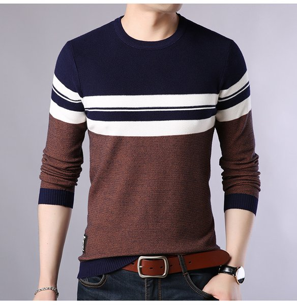 Winter Round Neck Wild Autumn Winter Striped Sweater Mens Sweater Men Hedging Loose Pullover Korean Version of The Sweater Bottoming Shirt