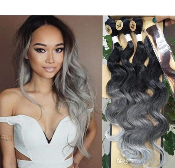"4pcs/lot Body Wave Ombre Purple Red Synthetic Hair Weaves grey blue blonde hair 18"" 20"" 22"" With Closure Machine Double Weft Hair Extensions"