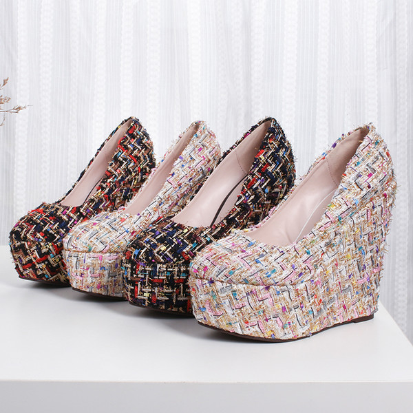 New Women's Shoes Wedges Pumps Concise Female Shoes 15cm High Heels with Platform Shallow Mouth 2 Colors Size: 30-43