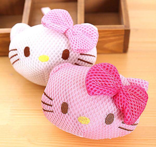 Nouveau Hello kitty Puff Bath Douche Lavage Corps Exfolier Puff Sponge Mesh Net Ball yey-8741