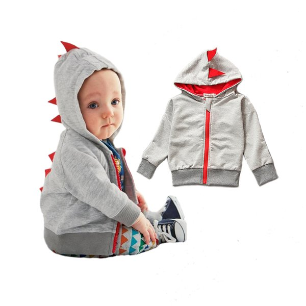 cute causal baby kids hoodie coat lovely dinosaur style cotton hooded sweatshirt for 1-3yrs bebe little boys girls hoody clothes