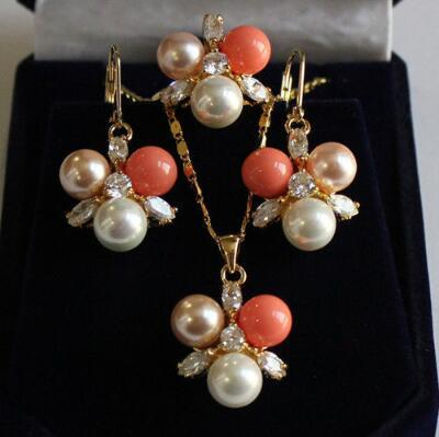 Free Shipping 8mm white/pinkshell pearl earring pendant ring#7/8/9