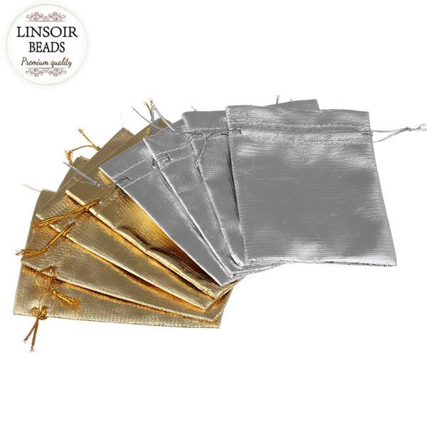 LINSOIR 25 pcs 7x9 / 12x9 cm Tecido de Cetim Organza Cordão Bolsas de Presente de Prata Cor de Ouro Sacos De Armazenamento De Jóias Embalagem F1736