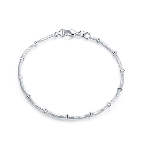 Nuovo di zecca ! Bracciale in argento 925 con catena di moda Lady JSPB564; bracciali con maglia a catena placcati argento a basso costo da ragazza