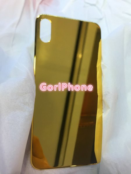 For iPhone XS Luxury 24ct gold housing For iPhone XS Ultra Slim real gold 24ct Glossy Chromed Gold back battery housing