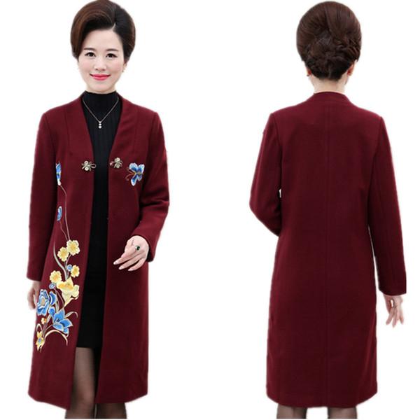 Druckmantel Frauen hohe Qualität Herbst lange Mäntel Frauen mittleren Alters Kleidung Nachahmung Wolle Tops Mäntel von Frauen Kaschmir