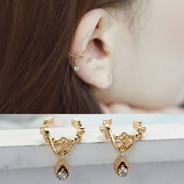 """DoreenBeads New Ear Cuffs Clip Wrap Earrings Drop gold color / silver color Clear Rhinestone 11mm( 3/8"""") x 10mm( 3/8""""), 1 PC"""