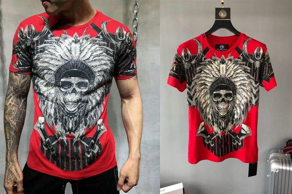 Summer Men T-Shirts Short Sleeve O Neck Colorful Rhinestone Skull Popular T Shirts Casual Tops Tees 100% Cotton 112T58100