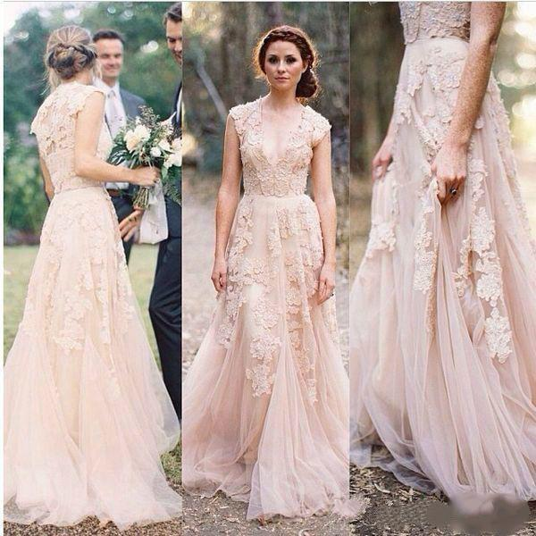 Trendy Blush Pink Plunging V Neck Lace Appliques Wedding Dresses Tulle Capped Ruffles Bridal Gowns Reem Acra Wedding Bride Gown