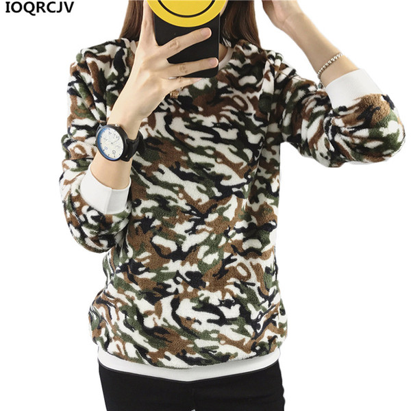 2018New Autumn Winter Flannel Printed Pullovers Sweatshirts Women Clothing Long-sleeved Short Plush Warm Female Casual Tops AA18