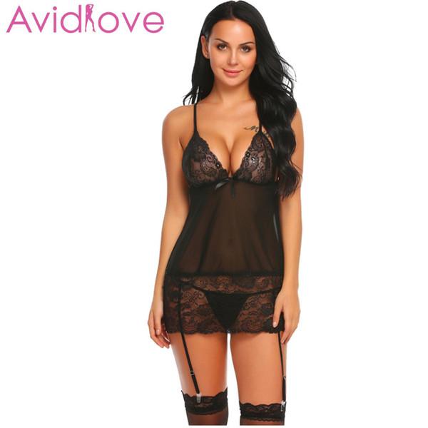 Avidlove Erotic Underwear Femmes Dentelle Lingerie Sexy Érotique Chaud Babydoll Robe Sexe Costume De Chemise De Nuit Intime Habillement Jarretière Ensemble Y1892810