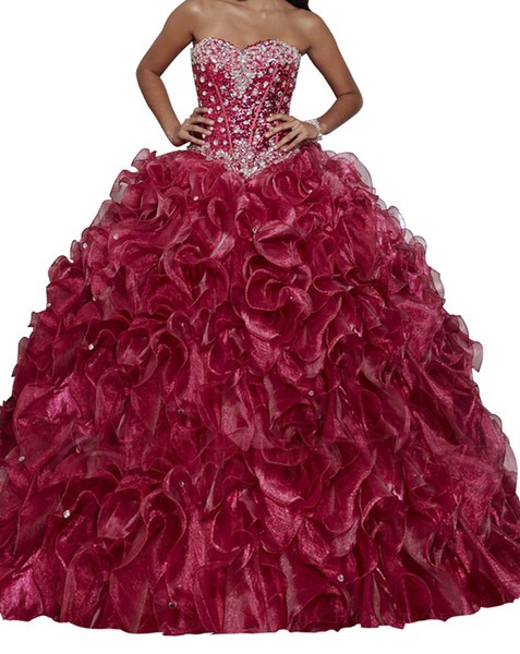 Weddings & Events The new full drill deep red sequined yarn Eugen Tutu back strap skirt flounce shiny Size XL custom cheap shipping
