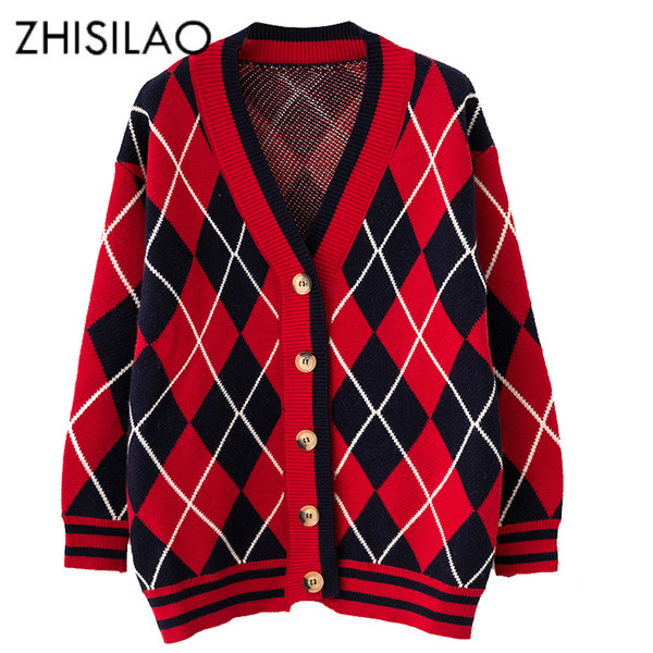 Autumn Knitted Sweaters Long Sleeve Plaid Pattern Cardigan Women Casual Outwear