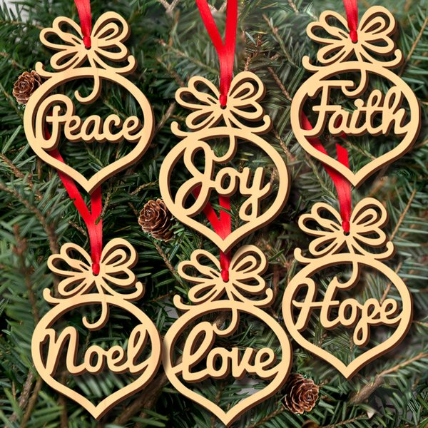 6pc Wood Christmas Tree Ornaments Decoration Small Hollow Heart Bubble pattern Pendant letters Hanging Ornaments Christmas bulb Shape