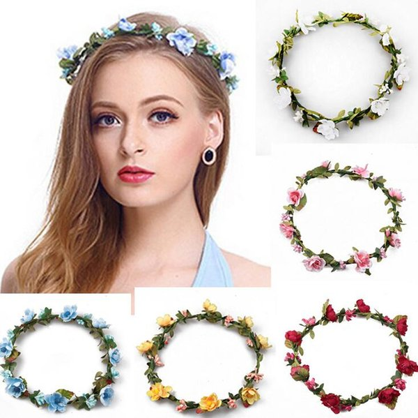 Flower headband Bohemian Hair Crowns Women Artificial Floral Hairbands Fashion Headwear for Girls Hair Accessories Beach Wedding Garlands