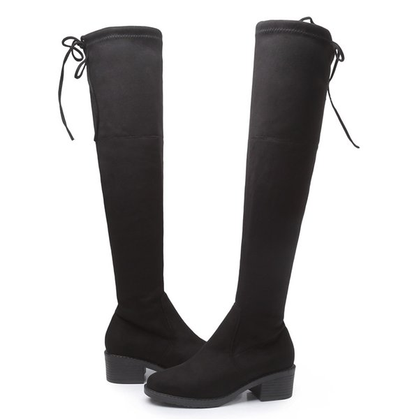 Europe Style Women's Shoes Women Boots Autumn Stretch Fabric Over-the-Knee Boots Thick Heels Elastic Boots Round Toe 34--43