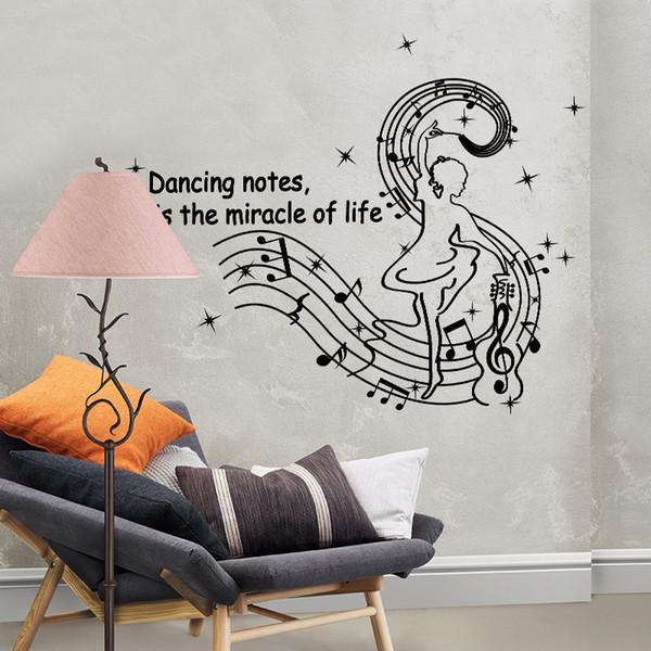 brandishing music notes wall sticker vinyl DIY wall art for kids Room music classroom decoration sticker