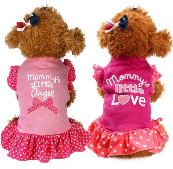 Летний щенок маленький питомец кошка Pet Dress одежда Одежда Fly рукавом Dress Ropa де Верано пункт Perros одежда для собак девушки Dress