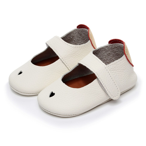 2018 new hot summer genuine Leather pure white heart-shaped Soft Shoes First Walker Infant Girl Boys Baby Moccasins 0-2 year old