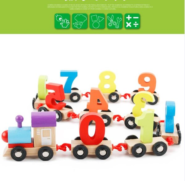 wholesale free shipping hot Children building blocks digital train puzzle assembled colorful wooden train educational toys