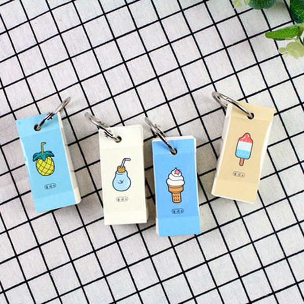 110 Sheets /Pack Summer Ice Cream Fruit Keychain Mini Memo Pads Vocabulary Word Book Stationery S02