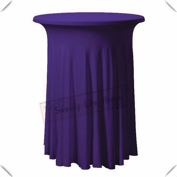 Free shipping 10pcs Strech spandex Cocktail table cover/Purple Lycra table cloths 60cm*110cm Pleated Rufffled table cover for Birthday party