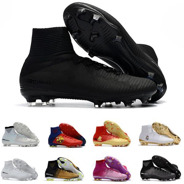 Men Shoes Mercurial Superfly CR7 V FG AG Football Cristiano Ronaldo High Tops Neymar JR ACC Soccer Shoes Magista Obra mens Soccer