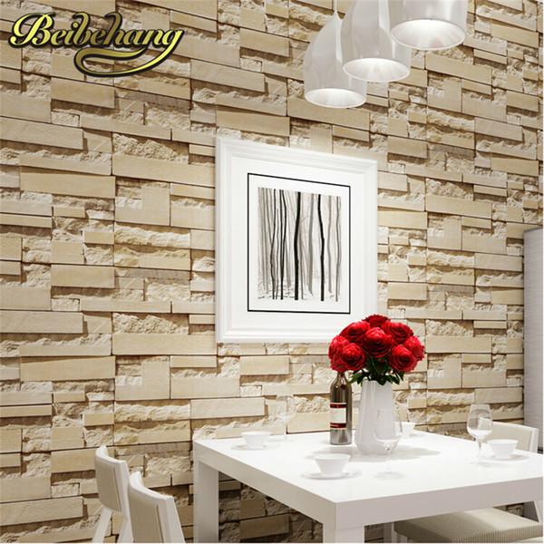 Beibehang Stein Brick Vinyl Tapete Rolle Papel De Parede 3D Wohnzimmer  Hintergrund Wand Dekor Kunst Für