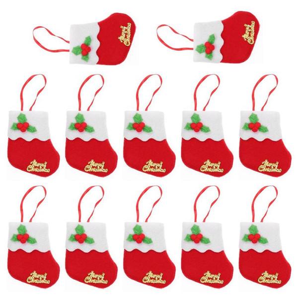 6/12pcs Christmas Stockings Hanging Christmas Tree Decoration Ornaments New Year Candy Bag Gifts Socks Stocking Xmas Ornament