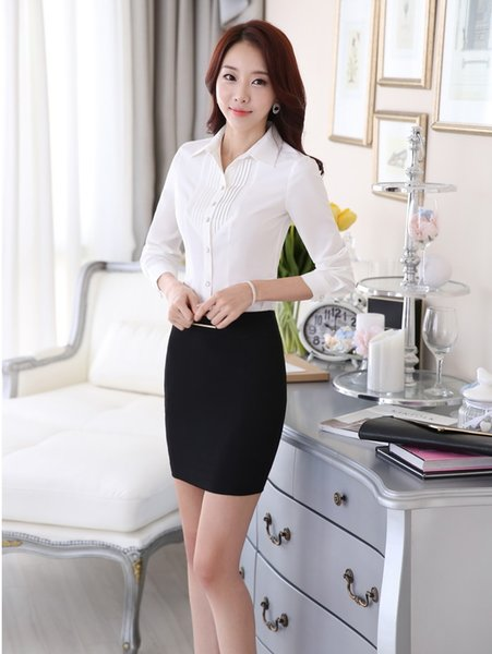 Novelty White Slim Fashion Spring Autumn Business Women Work Suits With Tops And Skirt Ladies Office Shirts Clothing Set