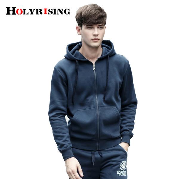 Holyrising Männer Cap Hoodies Lässige Feste Sweatshirt Männlich Streetwear Schwarz Grau Blau Hoodies Männlich Sweatshirts Pullover # 19008-5