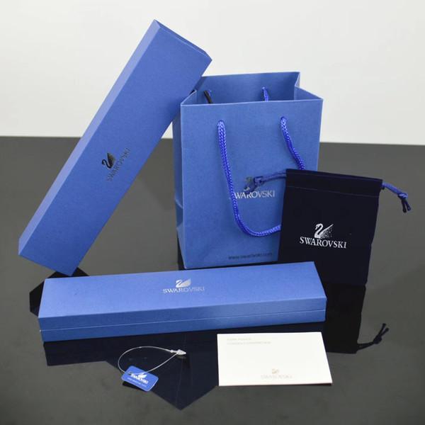 Heißer verkauf berühmte marke Dunkelblau schmuckschatullen gesetzt armband halskette Ringe boxen mit Papiertüten und zertifikat geschenk verpackung nalalace boxen