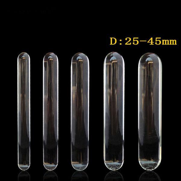 230mm long transparent glass dildo huge big penis double dildo anal plug adult sex toys for woman lesbian large dildos butt plug Y18110504
