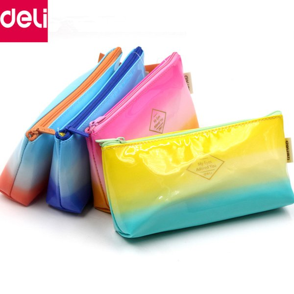 Deli Stationery 5pcs Kawaii Cute Leather Pencil Bag Leather Pen Box Pencil Case Rewarding Gifts for Kids School Office Supplies