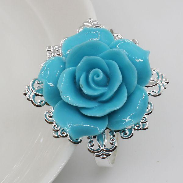 5pc Lake blue resin Rose Napkin Rings Napkin Holder Wedding napkins fabric decorative deduction Party Dinner Table Decoration