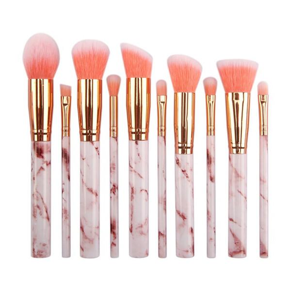 10pcs escova da composição de mármore 3 cores High Tech Make Up Brushes Set brocha de maquillaje Fast Shipping