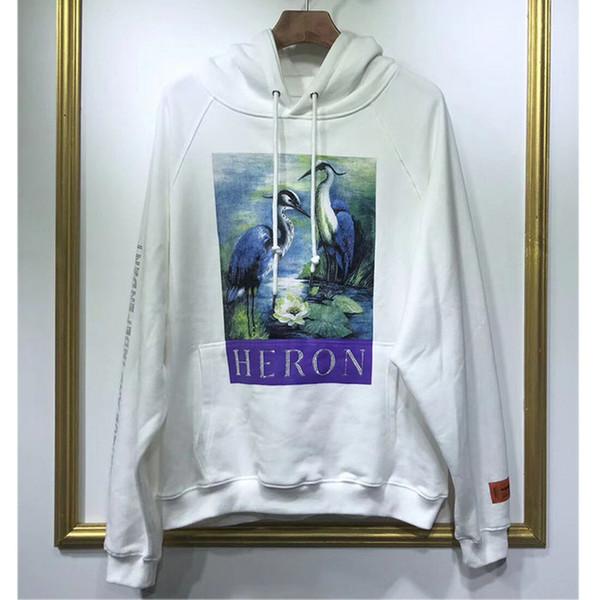 19 New Heron Preston Sweatshirts Red-Crowned Crane Heron Preston Sweatshirts Diamond Letters White Heron Preston Hoodie Pullover