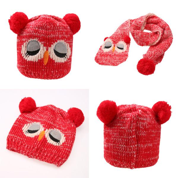 2 teile / satz Winter Warme Baby Jungen Mädchen Hut Schal Set Infant Kleinkind Kinder Wolle Strickmütze Cartoon Tier Nette Eule Hüte