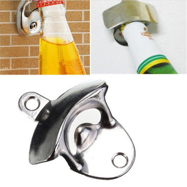 Edelstahl an der Wand befestigter Flaschenöffner Kreativer Wandöffner Bierflaschenöffner Benutzen Sie die Schrauben, die auf der Wand regeln Freies Verschiffen
